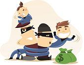 Superhero kids with mission accomplished, tied together burglars