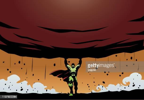 superhero lifts a big rock - over burdened stock illustrations