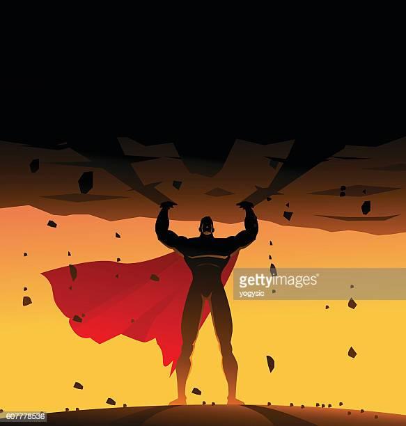 superhero lifts a heavy rock silhouette - fantasy stock illustrations