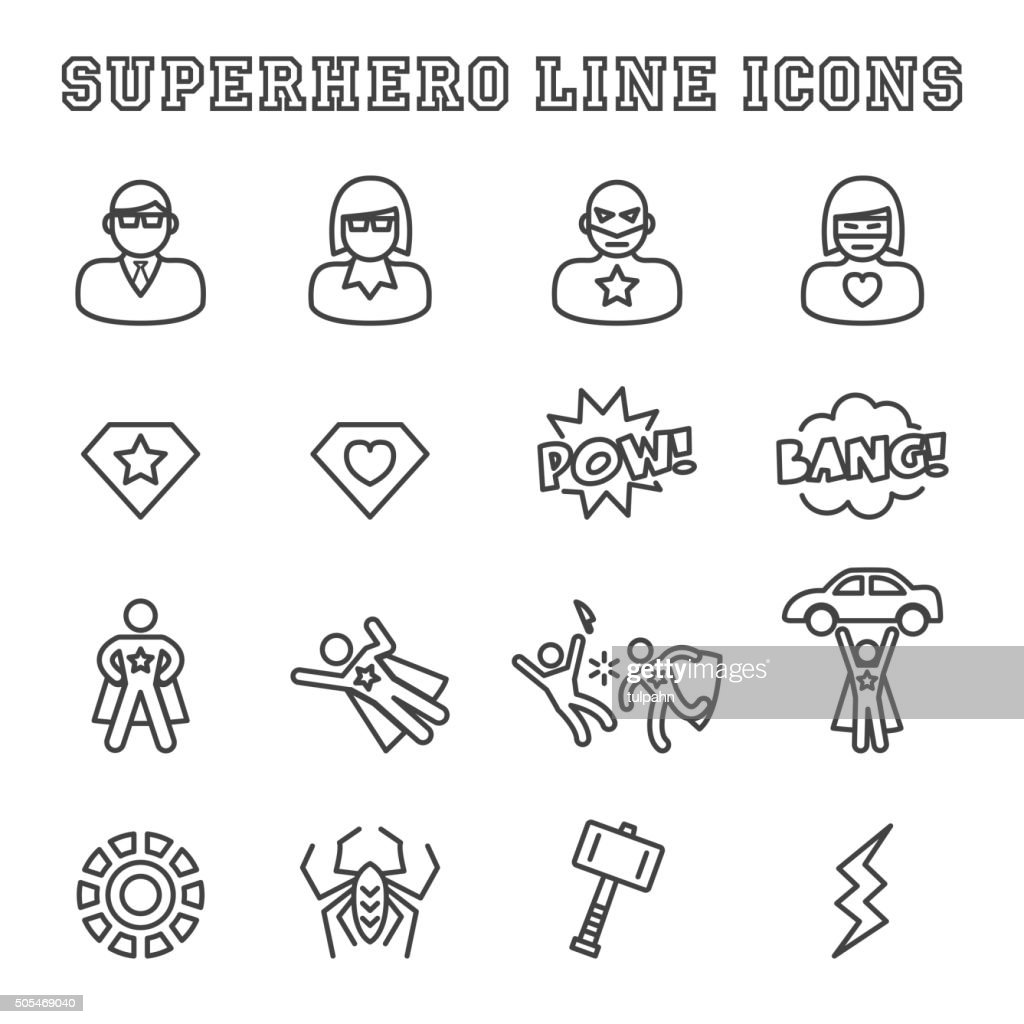 superhero line icons