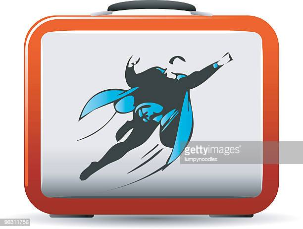 superhero lunchbox - lunch box stock illustrations