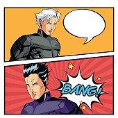 Superhero man cartoon design