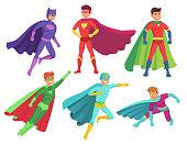 Superhero man characters. Cartoon muscular hero character in colorful super costume with waving cloak. Flying superheroes vector set