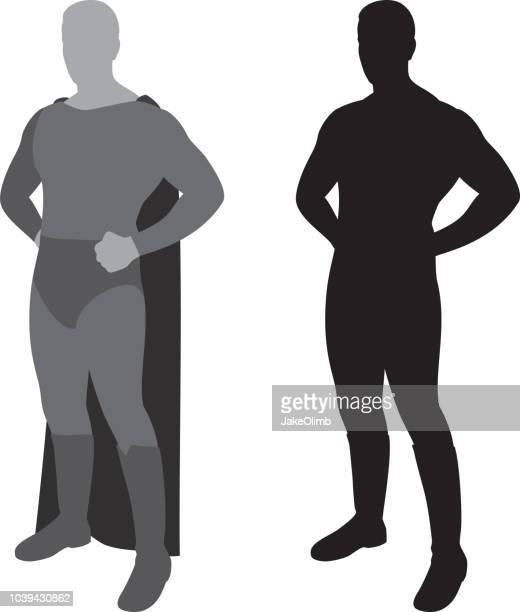 superhero man silhouette - masculinity stock illustrations, clip art, cartoons, & icons