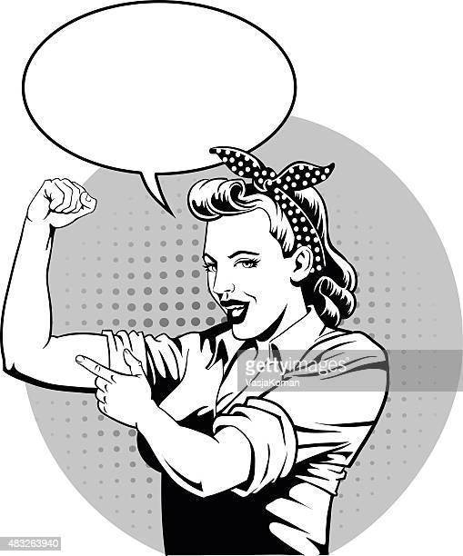superhero mother with speech bubble flexing muscles - supermom - bicep stock illustrations, clip art, cartoons, & icons