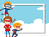 Superhero on sky frame