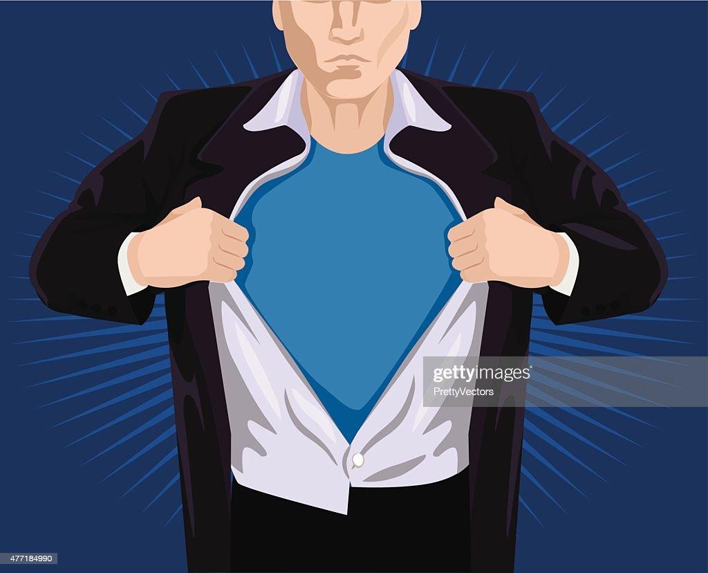 Superhero opening shirt. Vector illustration