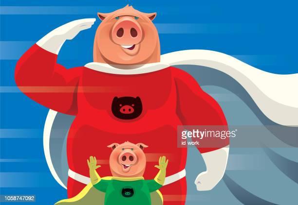 illustrations, cliparts, dessins animés et icônes de porcs de super-héros saluant et en agitant - applauding