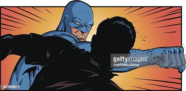 illustrations, cliparts, dessins animés et icônes de super-héros punch - se disputer