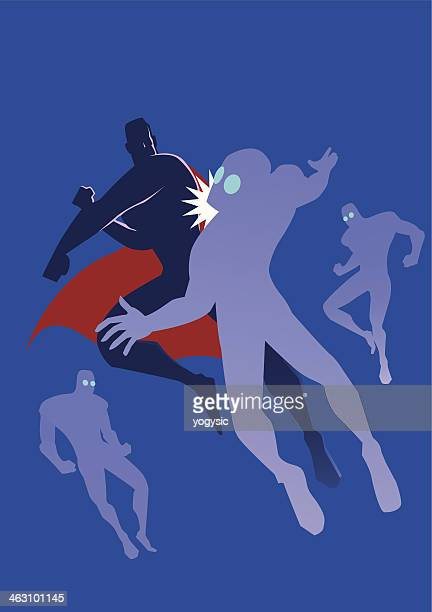superhero punches silhouette - slapping stock illustrations, clip art, cartoons, & icons