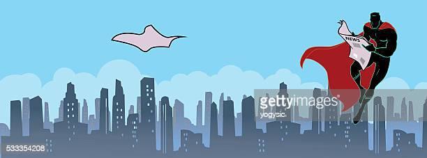スーパーヒーローの読書新聞 - 最新情報点のイラスト素材/クリップアート素材/マンガ素材/アイコン素材