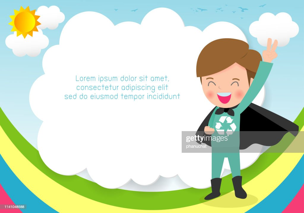 Superhero Recycling kid on background,Template for advertising brochure,your text ,Cute little Superhero Children's, Kids and frame,child and frame,Vector Illustration