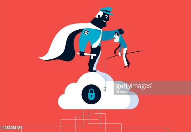 illustrazioni stock, clip art, cartoni animati e icone di tendenza di supereroe guardia di sicurezza cattura cyber ladro - difendere
