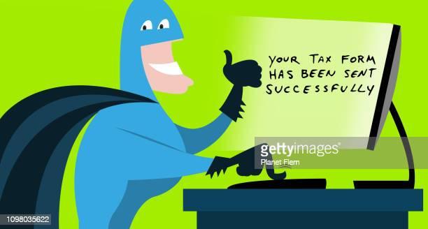 ilustraciones, imágenes clip art, dibujos animados e iconos de stock de superhéroe envío de formulario de impuestos por internet - impuestosobrelarenta