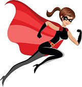 Superhero sexy beautiful woman running or flying isolated