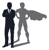 Superhero Shadow Businessman