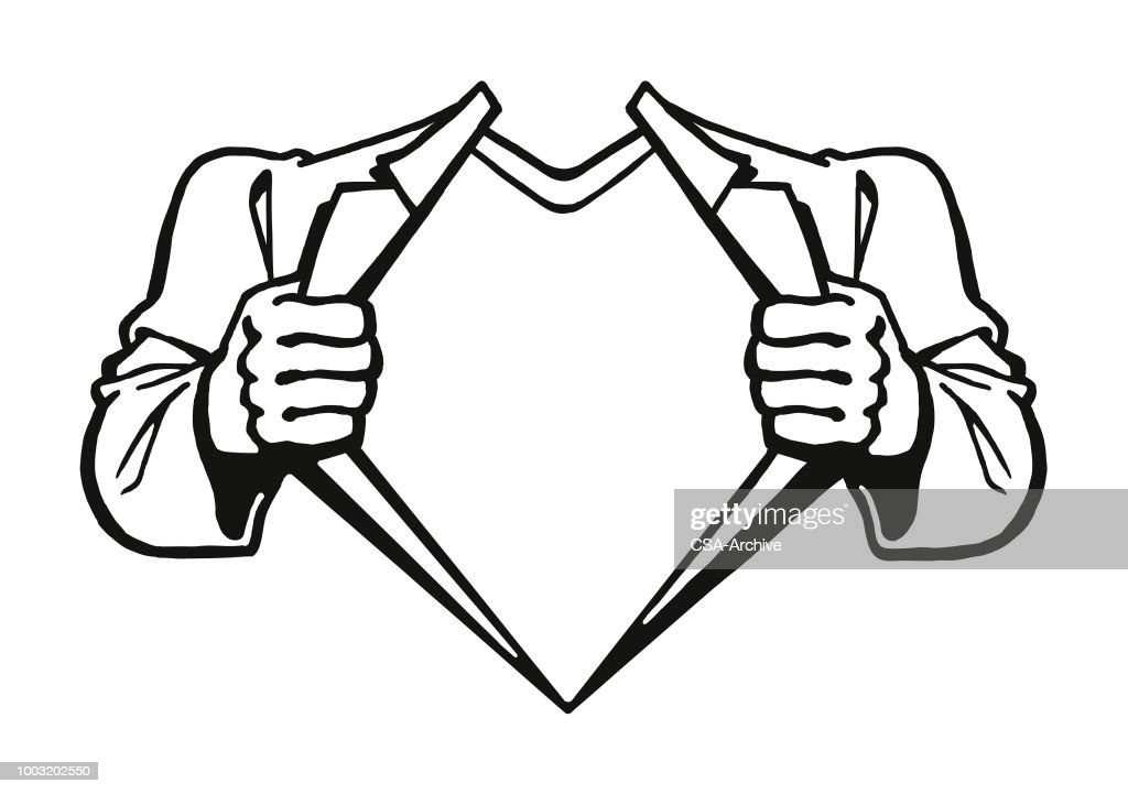 Superhero Showing Chest : stock illustration