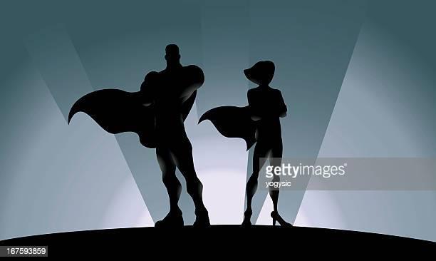 Superhero Silhouette Male and Female