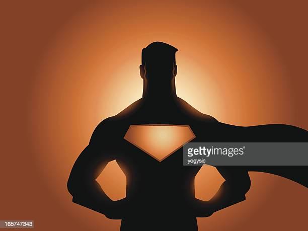 superhero silhouette - mid adult stock illustrations