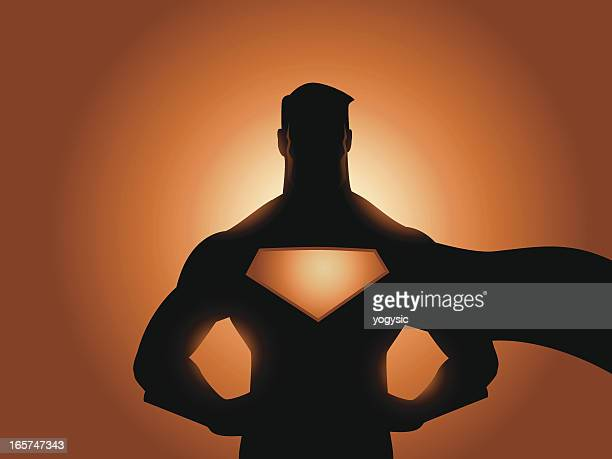 superhero silhouette - superman stock illustrations