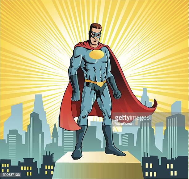 Superhero Standing Before City Skyline