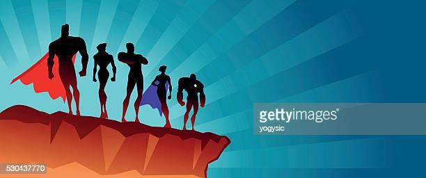 superhero team on the top - stage costume stock illustrations