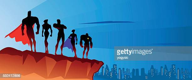 Superhero team on the top
