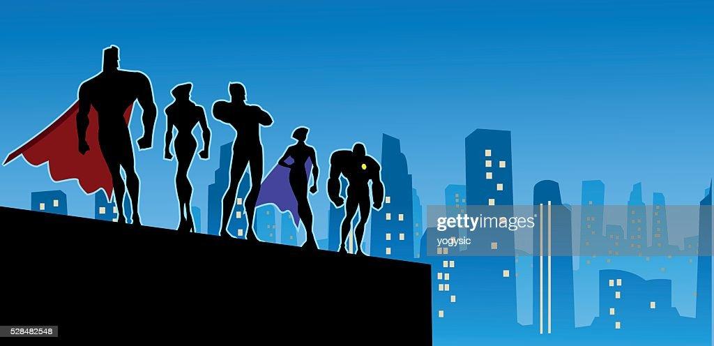 Superhero Team Silhouette in Big City
