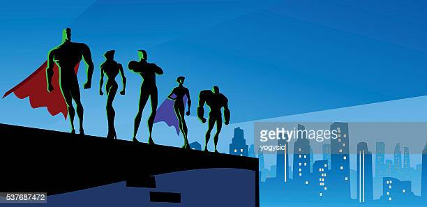 Superhero Team Silhouette in Big City