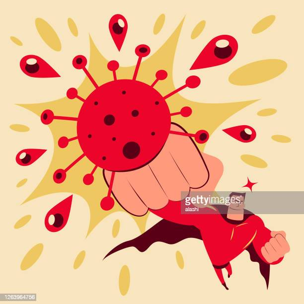 superhero throws a punch at the new coronavirus (covid-19, bacterium, virus) - computer virus stock illustrations