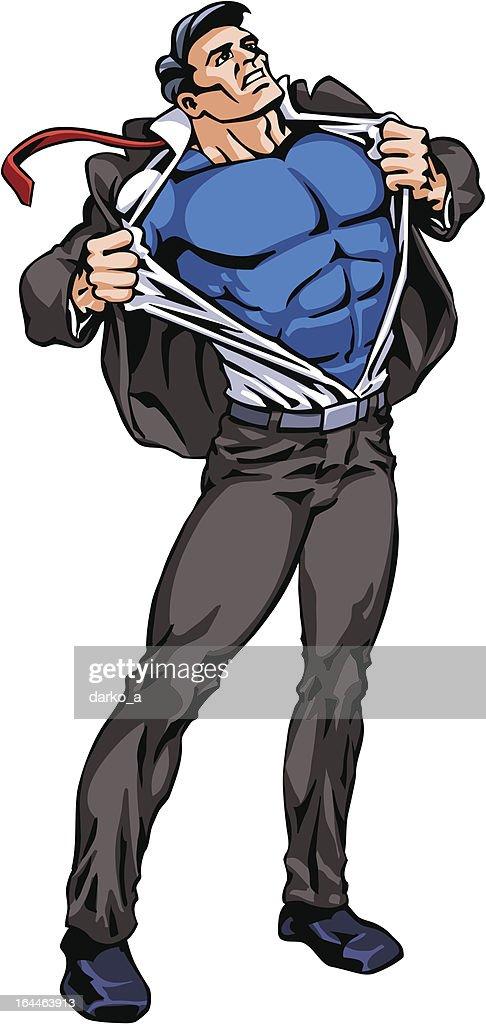 Superhero Transforming, whole figure, isolated