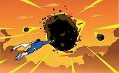 Superhero Tries to Stop a Meteor