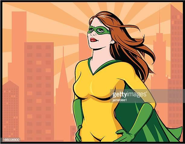 ilustraciones, imágenes clip art, dibujos animados e iconos de stock de superhéroe - fémina