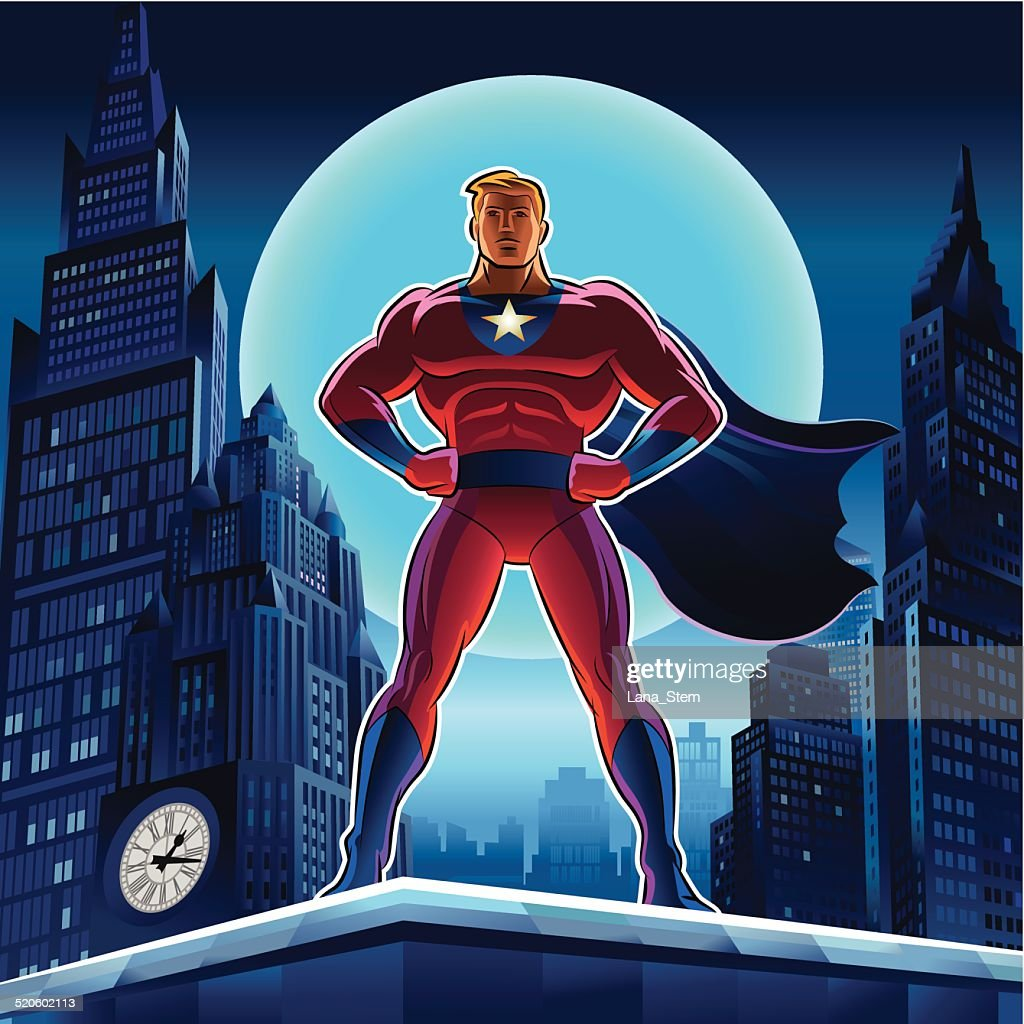 Superhero. Vector illustration on a background