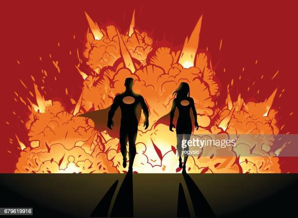 superhero walking from explosion behind - action movie stock illustrations