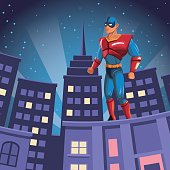 superhero watching over building city night view