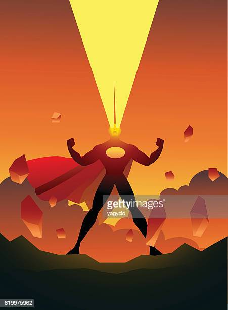 Superhero with Laser Vision and Destruction setting