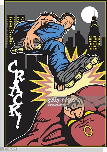 Super-héros femme avec Rollerblades attaques Monster