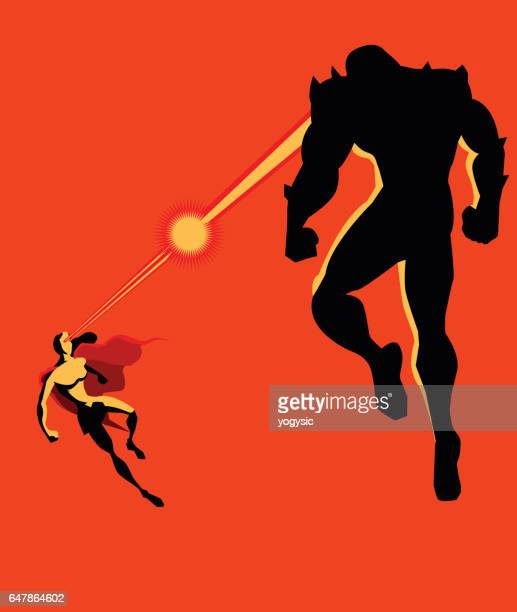 Superhero Woman Fighting Monster with Heat Vision