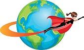 Superhero woman flying around world isolated