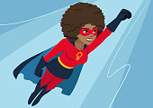 Superhero woman in flight. Attractive young African American woman wearing superhero costume with cape, flying through air in superhero pose, on sky background. Flat contemporary style vector element