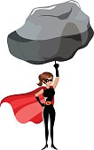 Superhero woman lifting large stone with finger isolated