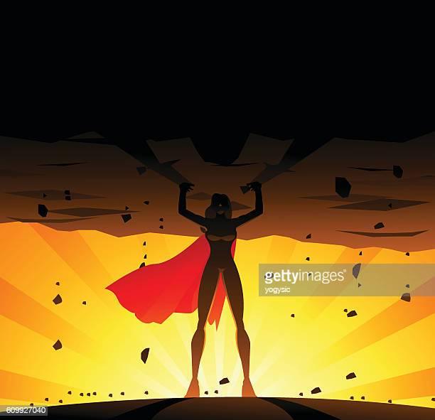 superhero woman lifts a heavy globe - fat female cartoon characters stock illustrations