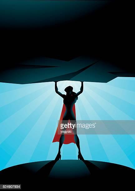 superhero woman lifts a rock - heroines stock illustrations