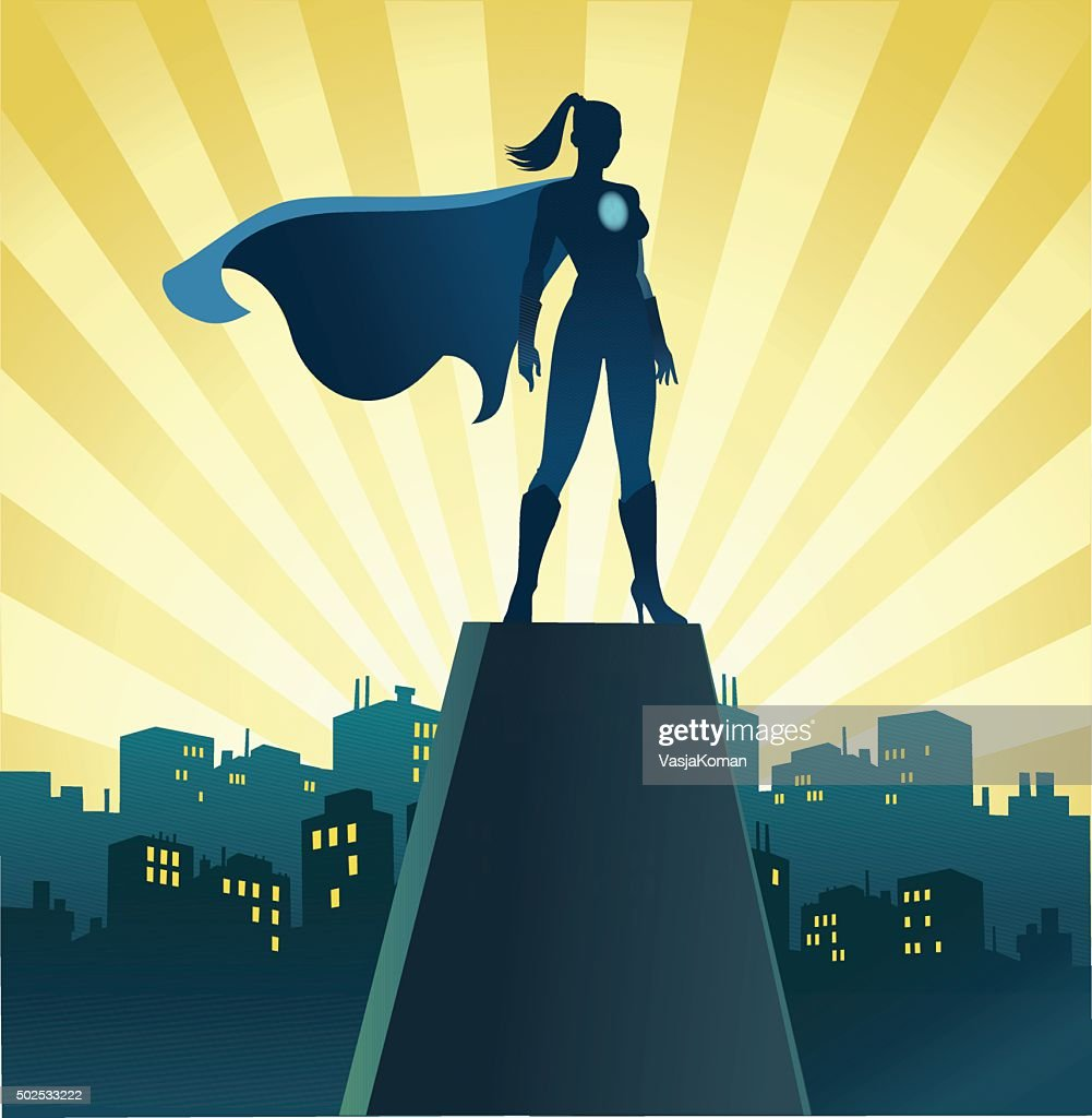 Superhero Woman on Watch With Skyline : Stock Illustration