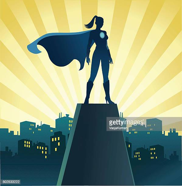 superhero woman on watch with skyline - only women stock illustrations, clip art, cartoons, & icons