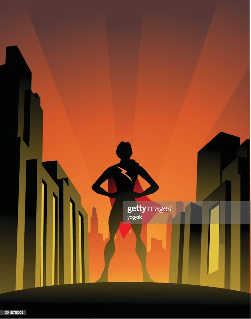 Superhero Woman Pose In The City Stock Illustration Getty