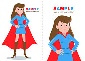 Superhero women standing with hand on hip