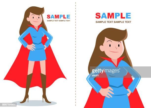 手を腰に立ってスーパー ヒーロー女性