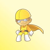 Superhero worker cartoon